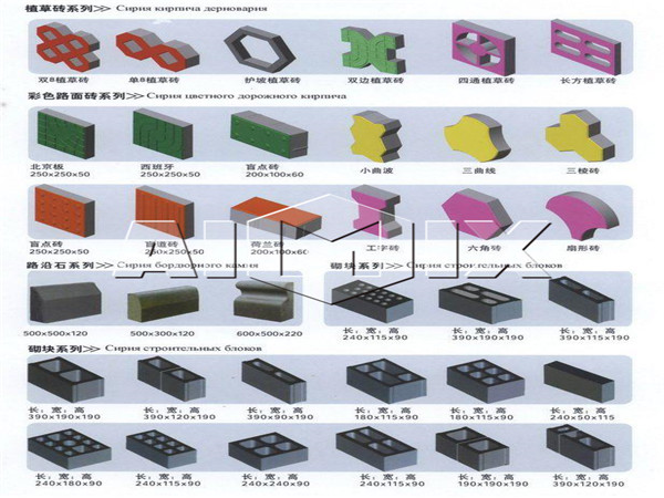 Finished products of hydraulic block machine