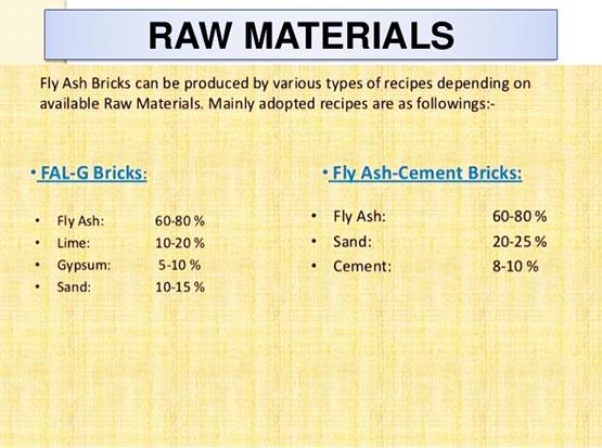 Recipe of fly ash brick machine