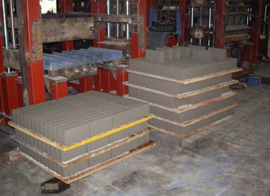 blocks created by hydraulic machine