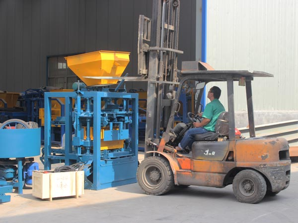 delivery of concrete bricks machine