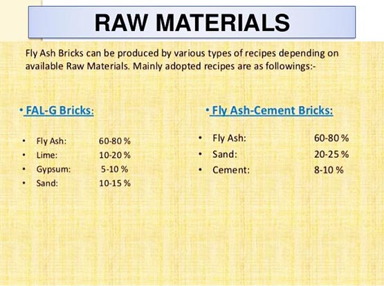 Recipe of fly ash brick machine