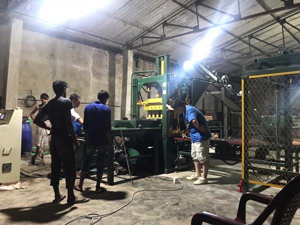 installation of bricks machine