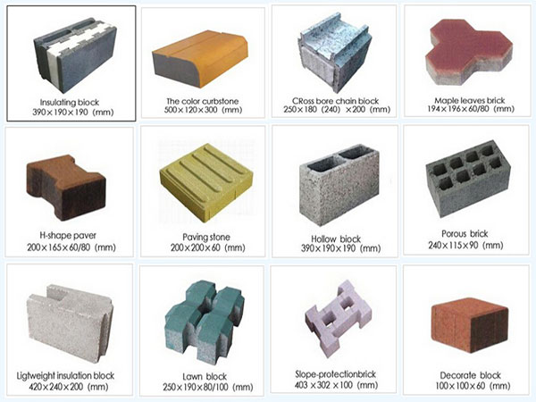 different finished concrete bricks