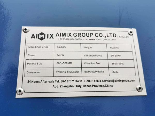 makmeplate of ABM-4S concrete block machine
