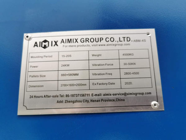 nameplate of ABM-4S concrete brick machine