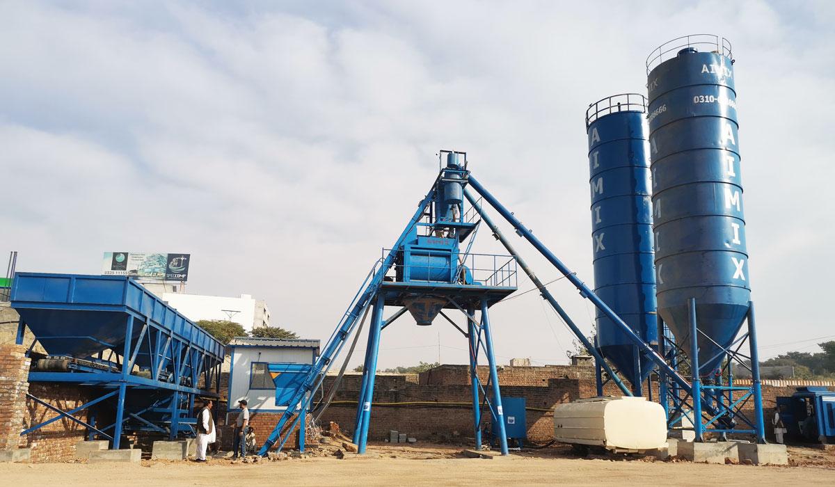 AJ-50 concrete batch plant in Pakistan
