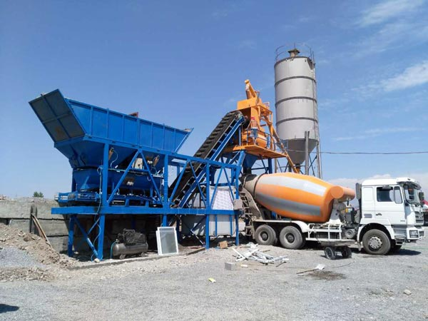 AJY-25 mobile concrete batching plant Indonesia