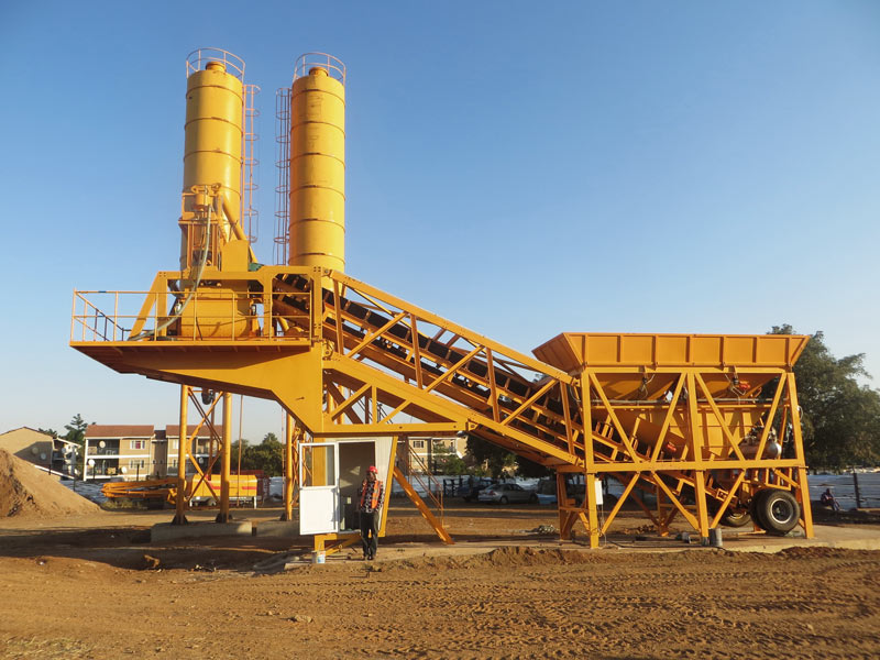 AJY-35 mobile concrete batching plant Indonesia