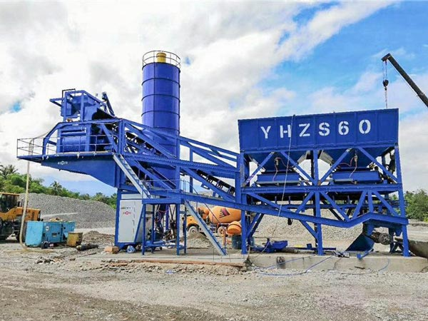AJY-60 mobile concrete batching plant Indonesia