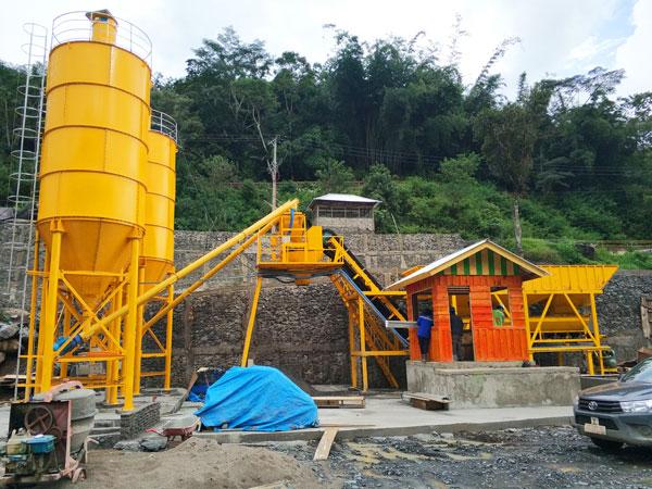 aj-60 stationary concrete batching plant