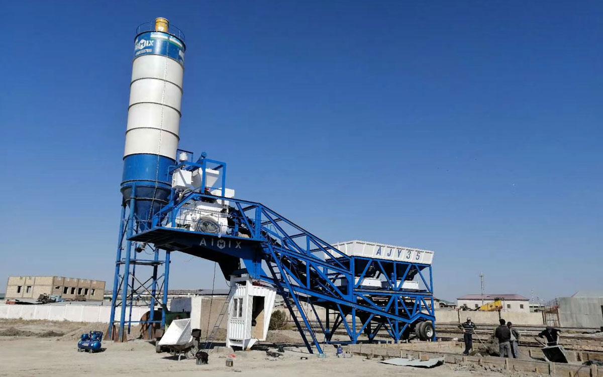 AJY-35 mini mobile batching plant Uzbekistan