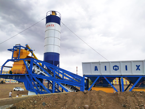 AJY-35 mini mobile concrete plant in Uzbekistan