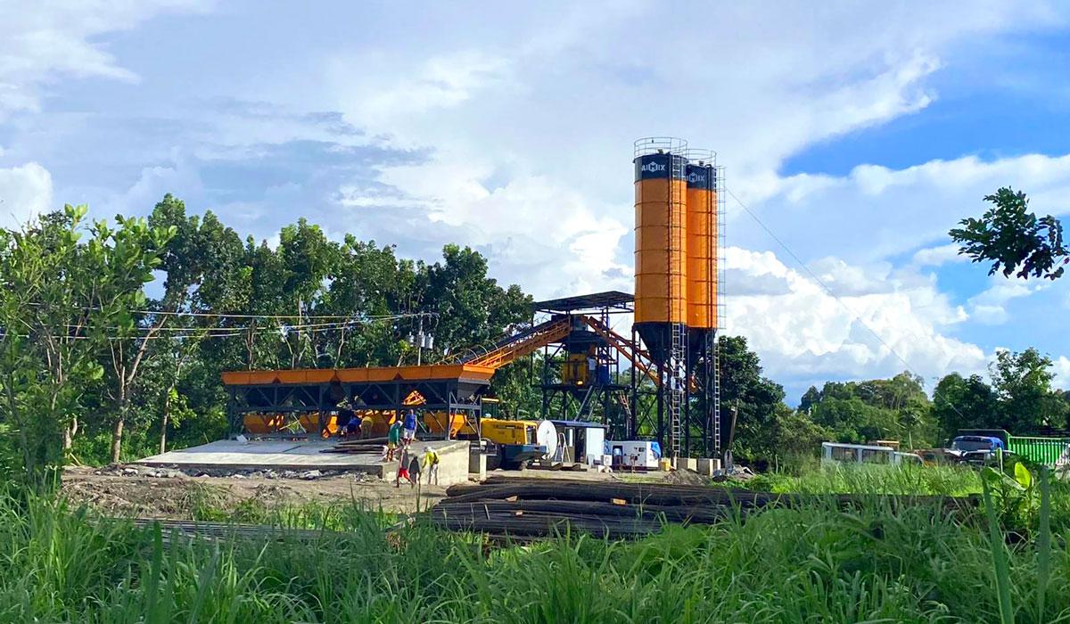 Planta dosificadora de hormigón con banda AJ-60 en Filipinas