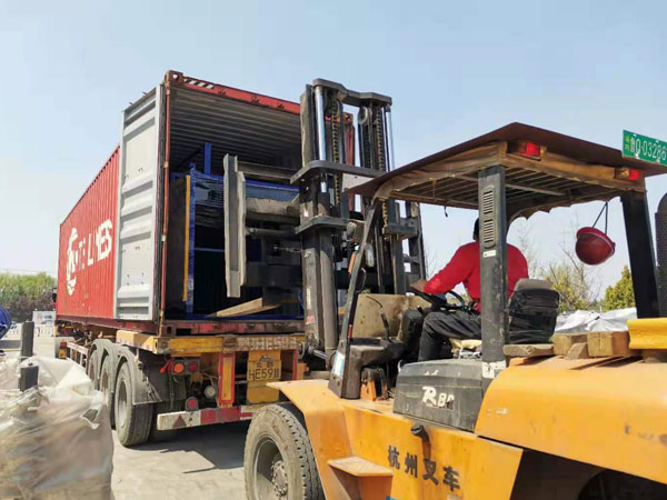 load ABM-3S concrete-hollow block machine to the Philippines