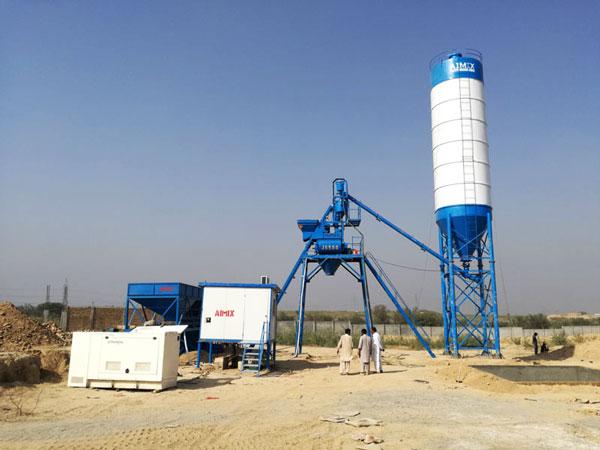 AJ-25 stationary concrete plant in Pakistan