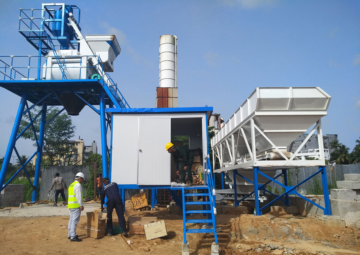 AJ-50 concrete batching plant installed in Sri Lanka