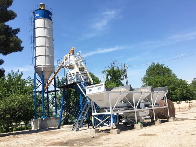 hopper type stationary concrete plant