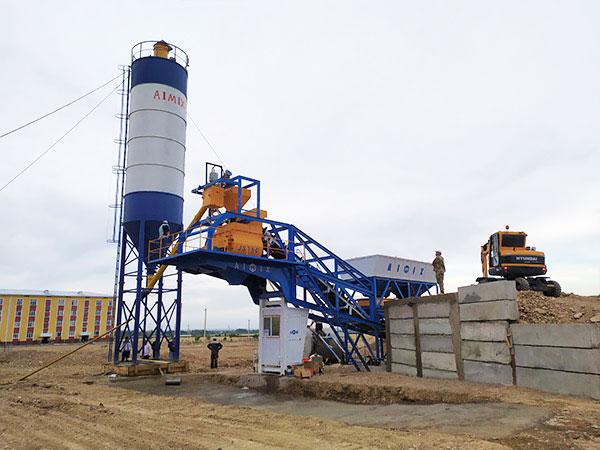 AJY-35 mobile concrete plant in Uzbekistan