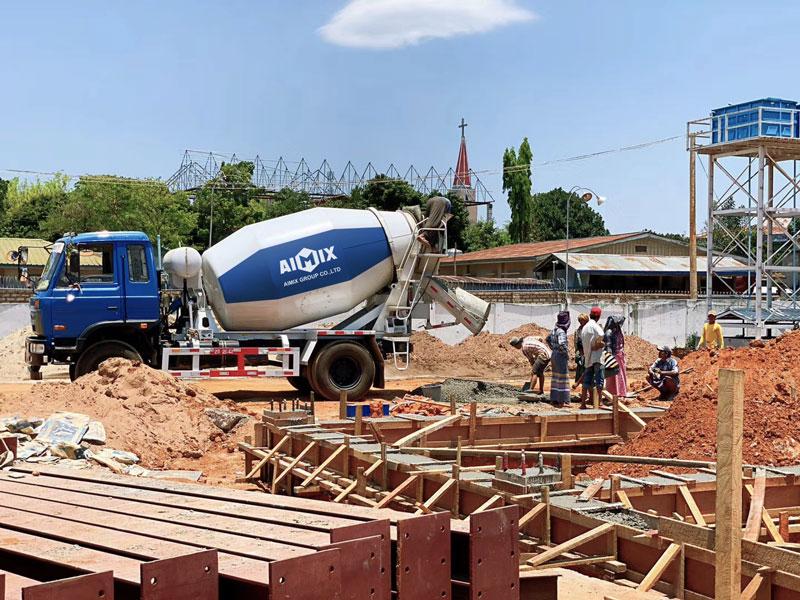 concrete transit mixer in the construction site