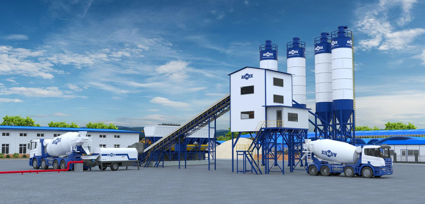 AJ-120 belt conveyor type concrete batching plant