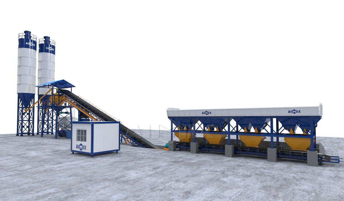 AJG-60 dry type belt concrete batching plant