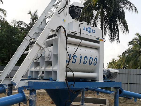 JS1000 twin-shaft compulsory concrete mixer