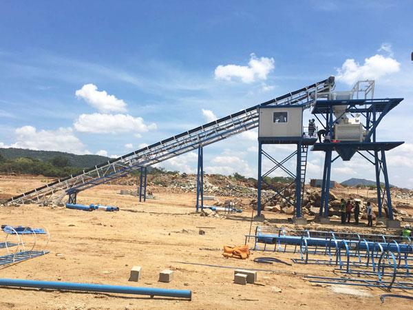 install AJ-60 concrete batching plant in Sri-Lanka